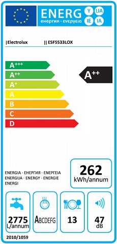 Obrázek galerie pro produkt Electrolux ESF5533LOX AirDry Myčka nádobí nerez 60cm, A++, Invertor motor