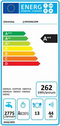 Obrázek galerie pro produkt Electrolux ESF5542LOW AirDry Myčka nádobí bílá 60cm, A++, Invertor motor