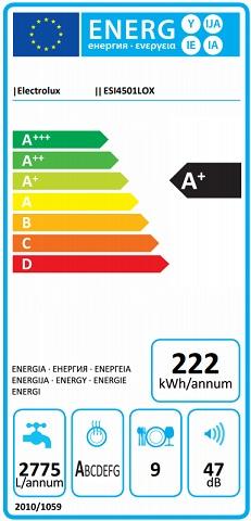 Obrázek galerie pro produkt Electrolux 300 AirDry ESI4501LOX Vestavná myčka nádobí s panelem 45cm, A+, 9sad