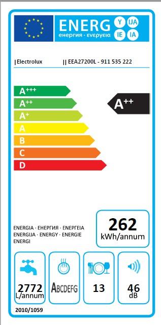 Obrázek galerie pro produkt Electrolux EEA27200L 300 AirDry Vestavná plně integrovaná myčka nádobí A++, 60cm, 13sad