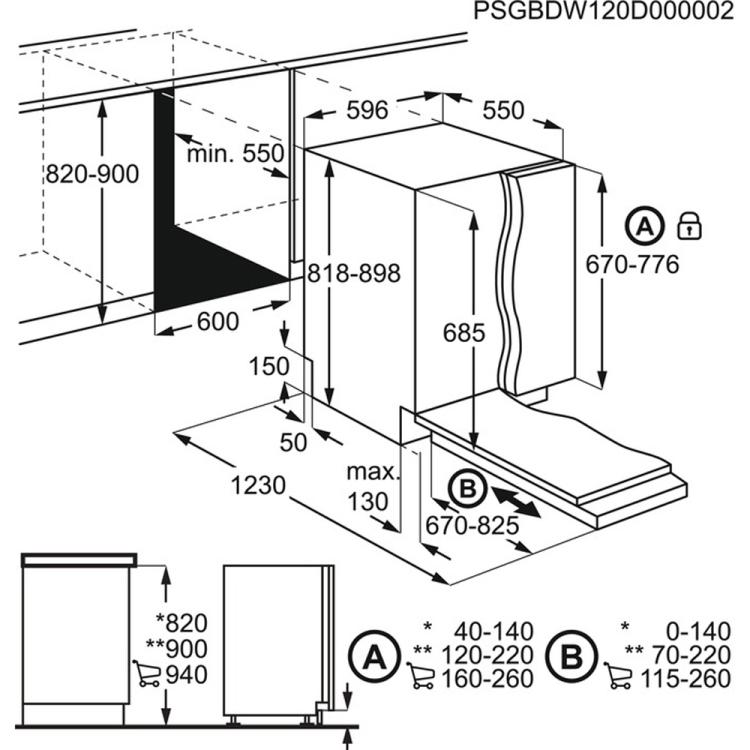 Obrázek galerie pro produkt Electrolux EEC67300L 800 SENSE ComfortLift Vestavná myčka nádobí 60cm, A+++, AirDry