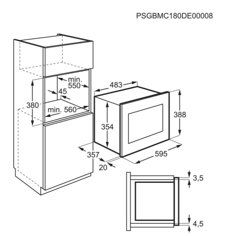 Obrázek galerie pro produkt Electrolux EMS4253TEX 600 FLEX Grill Vestavná mikrovlnná trouba s grilem, objem 25l