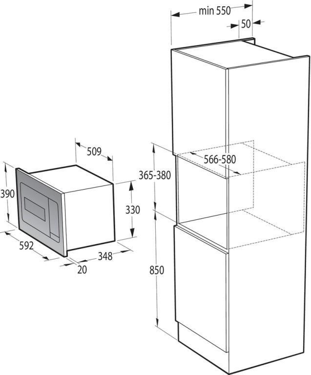 Obrázek galerie pro produkt Gorenje BM235SYB Symplicity Vestavná mikrovlnná trouba s grilem, černá
