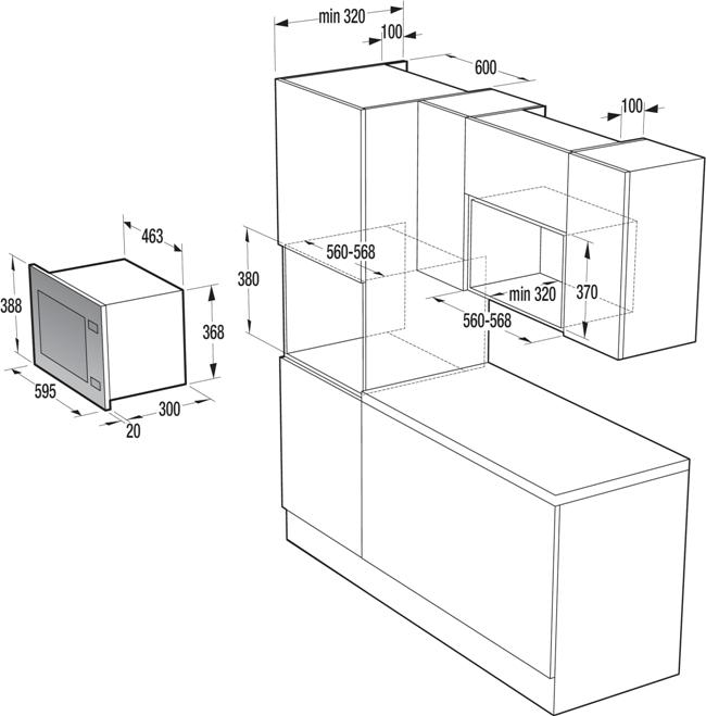 Obrázek galerie pro produkt Gorenje BM201A4XG Advanced Vestavná mikrovlnná trouba s grilem, černá