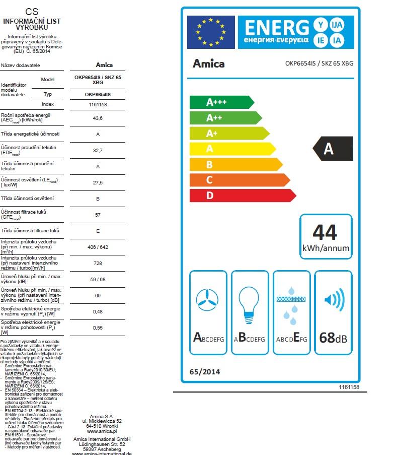 Obrázek galerie pro produkt Amica SKZ 65 XBG X-Type + AKCE, Komínová digestoř 60cm, černá/nerez, 728 m3/h
