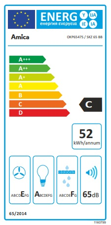 Obrázek galerie pro produkt Amica SKZ 65 BB + AKCE, Komínový odsavač par zkosený 60cm, LED osvětlení, černé sklo