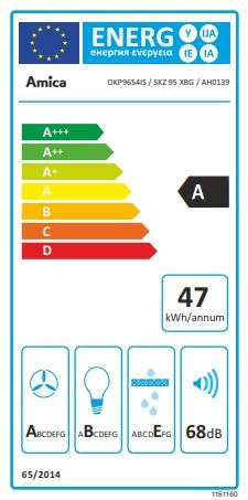 Obrázek galerie pro produkt Amica SKZ 95 XBG X-type + AKCE, Komínová digestoř zkosená 90cm, LED osvětlení, černé sklo