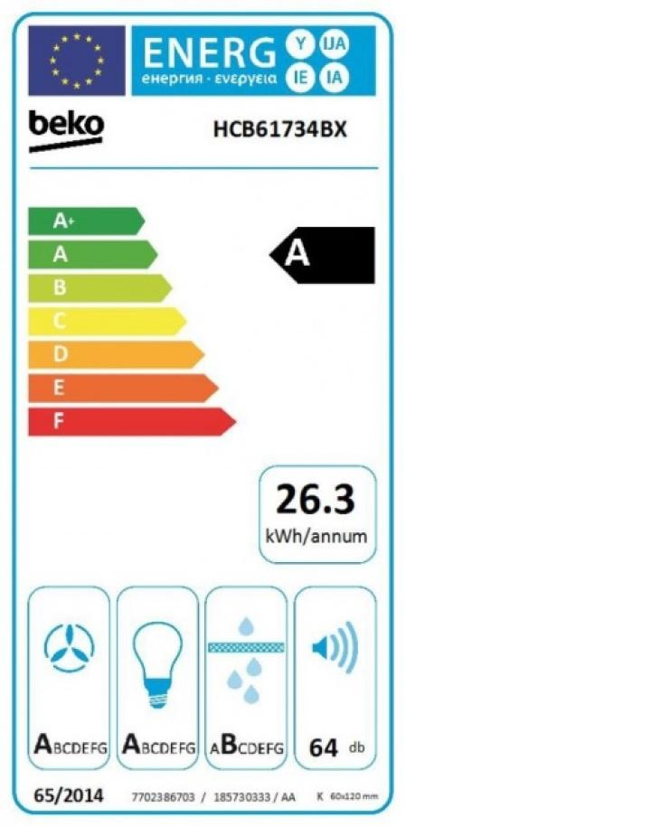 Obrázek galerie pro produkt Beko HCB61734BX Digestoř komínová nerez 60cm - AKCE