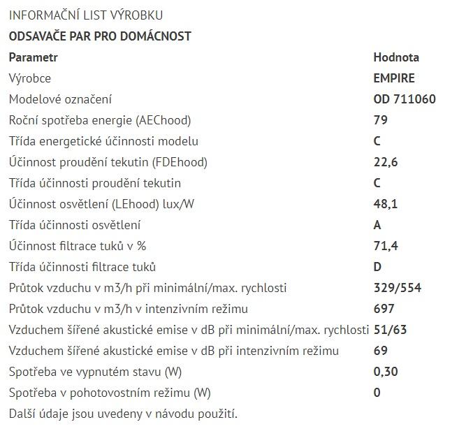 Obrázek galerie pro produkt Cata Empire VIP OD 711060 + Dárek%, Digestoř ostrůvková 60cm, nerez + dálkový ovladač