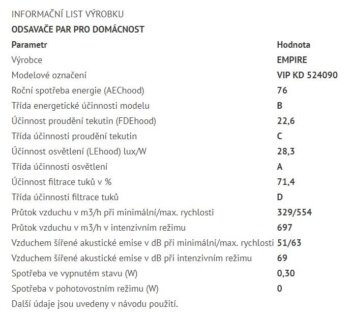 Obrázek galerie pro produkt Cata Empire VIP KD 524090 + Dárek%, Digestoř komínová 90cm, nerez/černé sklo