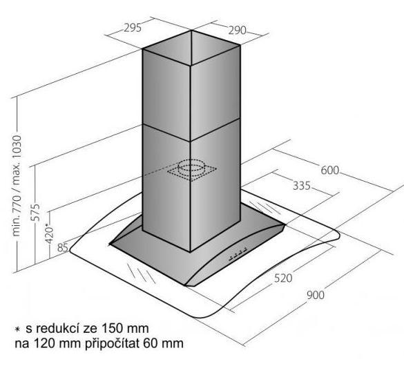 Obrázek galerie pro produkt Cata Empire VIP OD 723090 + DÁREK, Digestoř ostrůvková 90cm, nerez/sklo