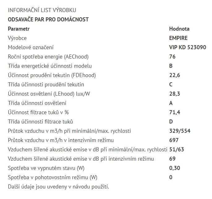 Obrázek galerie pro produkt Cata Empire VIP KD 523090 + AKCE%, Digestoř komínová 90cm, nerez/tónované sklo