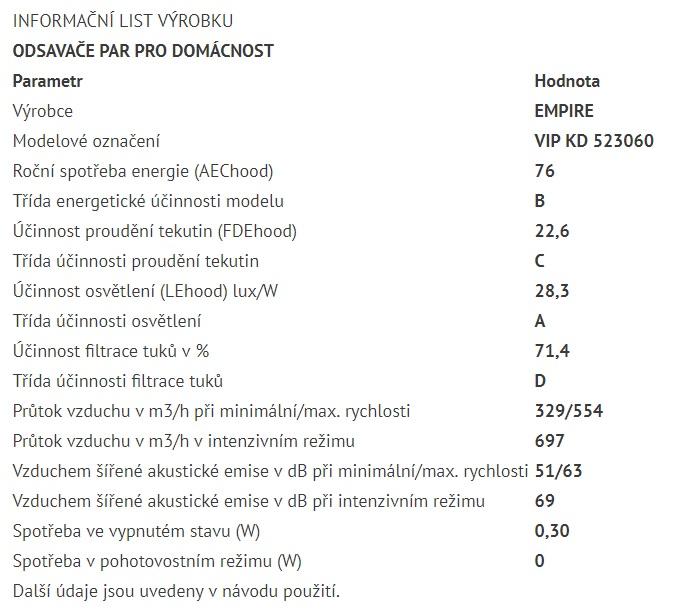 Obrázek galerie pro produkt Cata Empire VIP KD 523060 + AKCE%, Digestoř komínová 60cm, nerez/tónované sklo