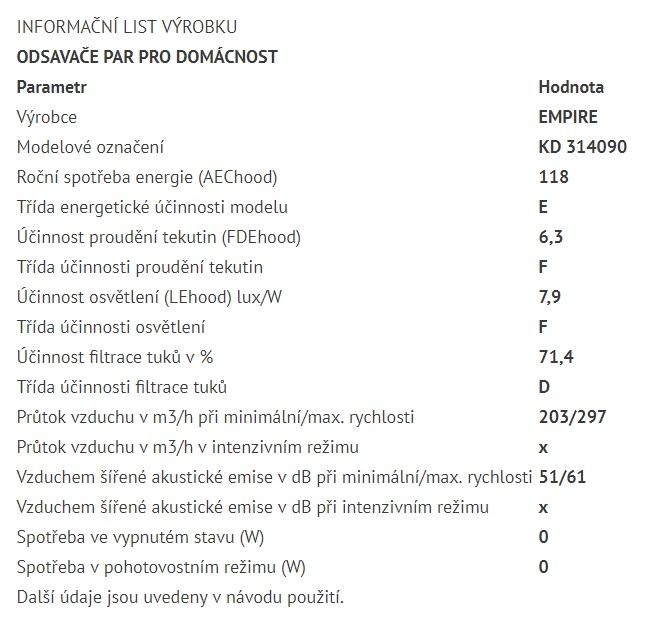 Obrázek galerie pro produkt Cata Empire KD 314090 + AKCE%, Digestoř komínová šikmá 90cm, nerez/černé sklo