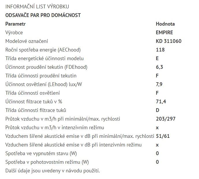 Obrázek galerie pro produkt Cata Empire KD 311060 + VIP Sleva, Digestoř komínová 60cm nerez, 297m3/hod