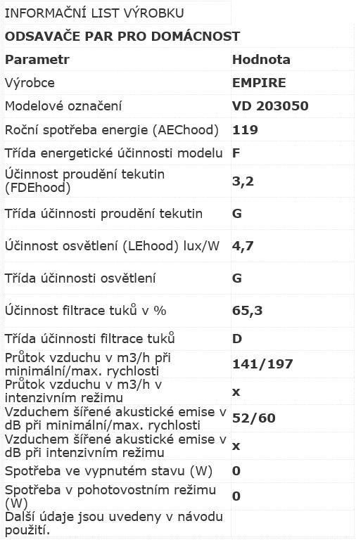 Obrázek galerie pro produkt Cata Empire VD 203050 nerez + AKCE, Digestoř výsuvná 50cm, 200m3/hod