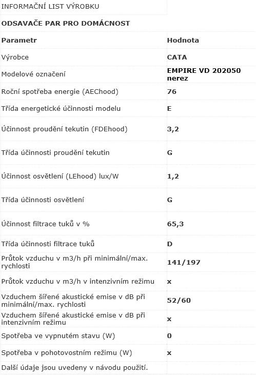 Obrázek galerie pro produkt Cata Empire VD 202050 nerez, Digestoř výsuvná 50cm, 200m3/hod