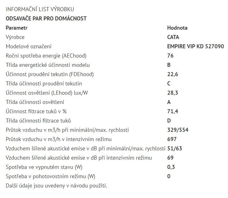Obrázek galerie pro produkt Cata Empire VIP KD 527090 + AKCE%,  Digestoř komínová 90cm