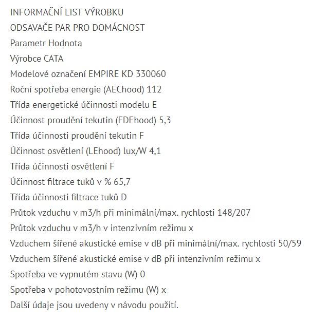 Obrázek galerie pro produkt Cata Empire KD 330060, Digestoř komínová šikmá 60cm, černá / černé sklo, 204m3/hod