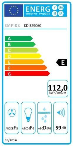 Obrázek galerie pro produkt Cata Empire KD 329060 + AKCE, Digestoř komínová šikmá 60cm, bílá/bílé sklo