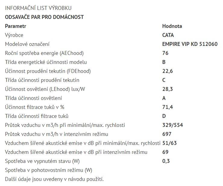 Obrázek galerie pro produkt Cata Empire VIP KD 512060 + AKCE%, Digestoř komínová 60cm, nerez/tónované sklo