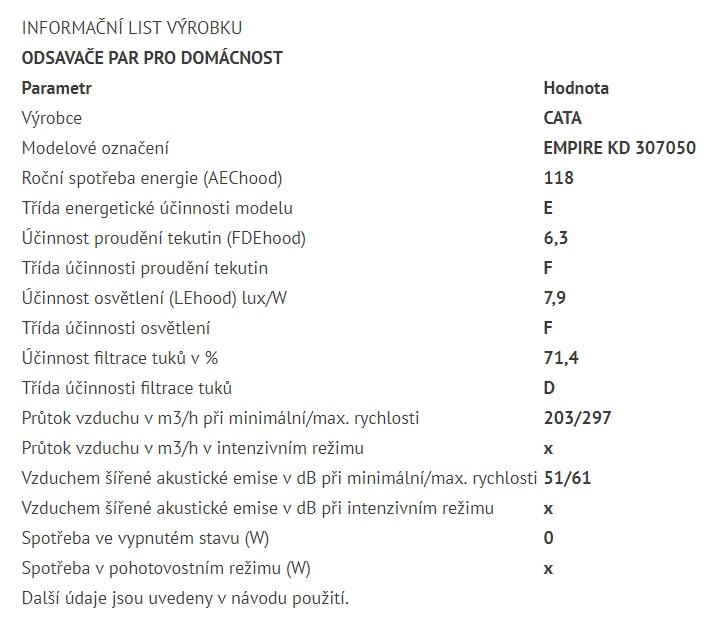 Obrázek galerie pro produkt Cata Empire KD 307050 + VIP Sleva, Digestoř komínová 50cm, nerez/tónované sklo, 405m3/hod