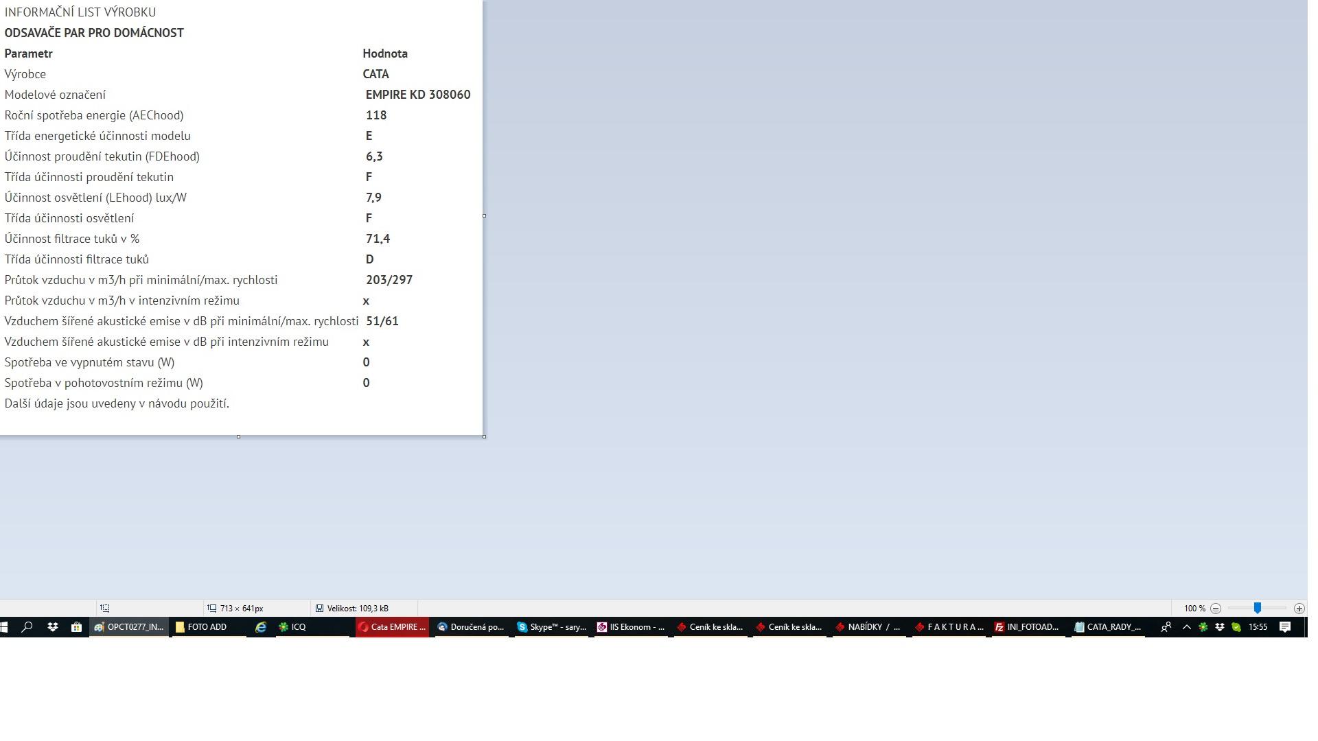 Obrázek galerie pro produkt Cata Empire KD 308060 nerez + Dárek%, Digestoř komínová 60cm, 297m3/hod