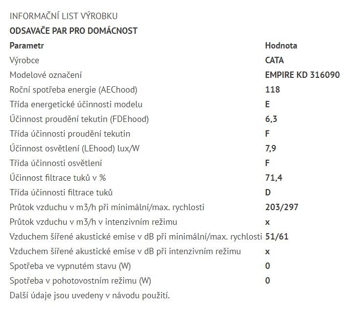 Obrázek galerie pro produkt Cata Empire KD 316090 + DÁREK, Digestoř komínová nerez 90cm