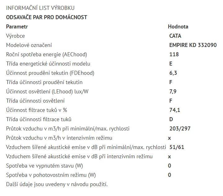 Obrázek galerie pro produkt Cata Empire KD 332090 + Dárek%, Digestoř komínová šikmá 90cm, černá/černé sklo, 297m3/hod
