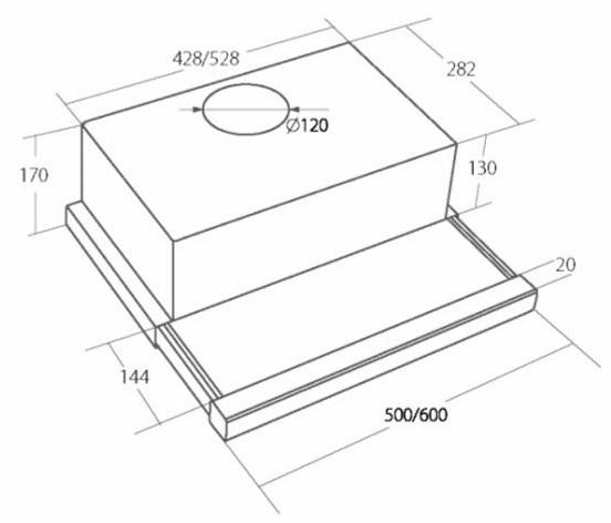 Obrázek galerie pro produkt Cata EMPIRE VD 208050 bílá + AKCE, Výsuvná digestoř 50cm + zpětná klapka