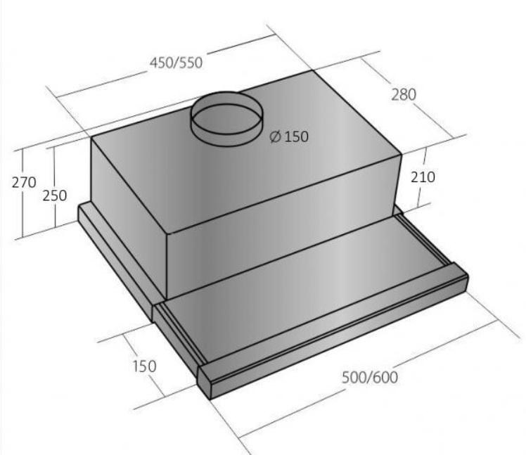 Obrázek galerie pro produkt Cata EMPIRE VD 213050 + Dárek%, Výsuvná digestoř nerez, 50cm, 725m3/hod