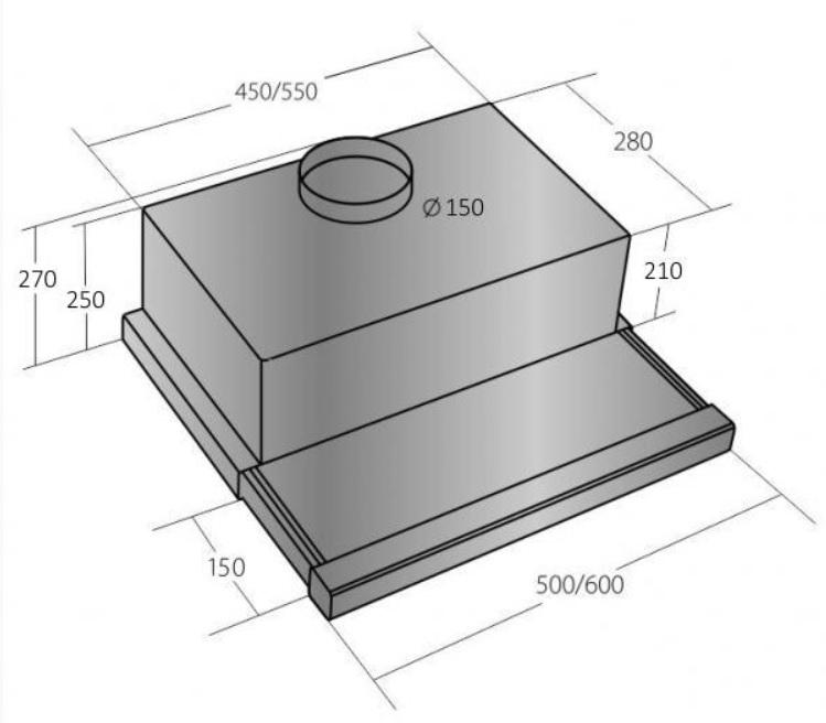 Obrázek galerie pro produkt Cata EMPIRE VD 213060 + Dárek%, Výsuvná digestoř nerez, 60cm, 725m3/hod