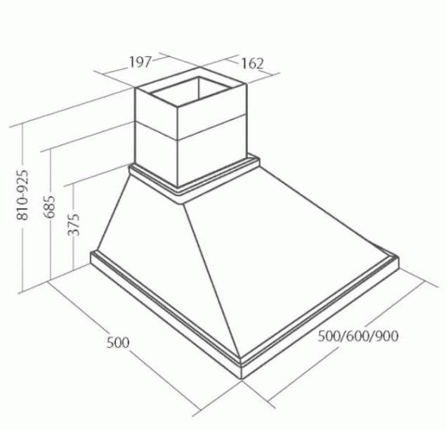 Obrázek galerie pro produkt  Cata EMPIRE KD 304090 + Dárek%, Digestoř komínová rustikální 90cm, 405m3/hod