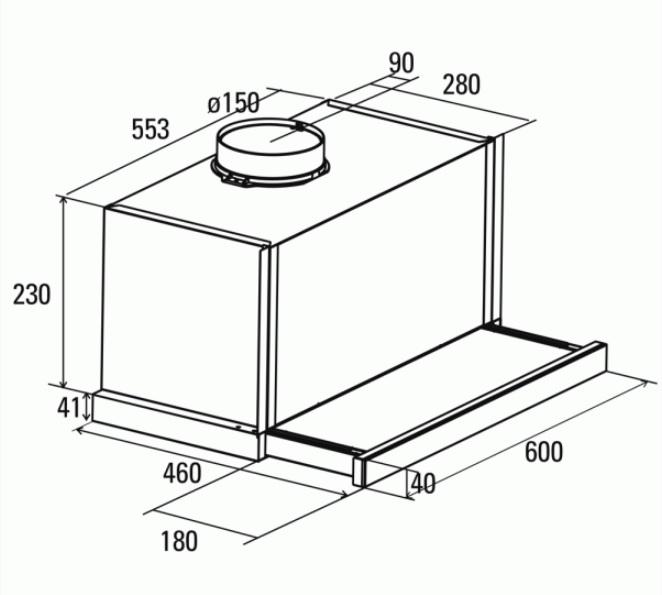 Obrázek galerie pro produkt Cata TF 7600 Digestoř výsuvná nerez, 60cm, 710m3/hod
