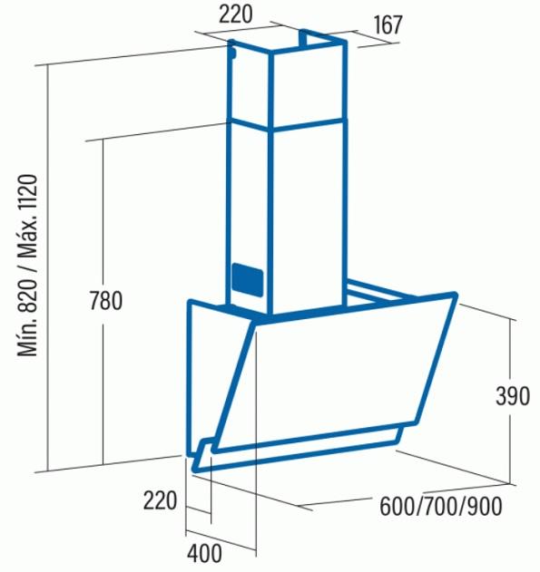 Obrázek galerie pro produkt Cata JUNO A+ 600 + Dárek%, Digestoř komínová 60cm, nerez/sklo, 575m3/hod