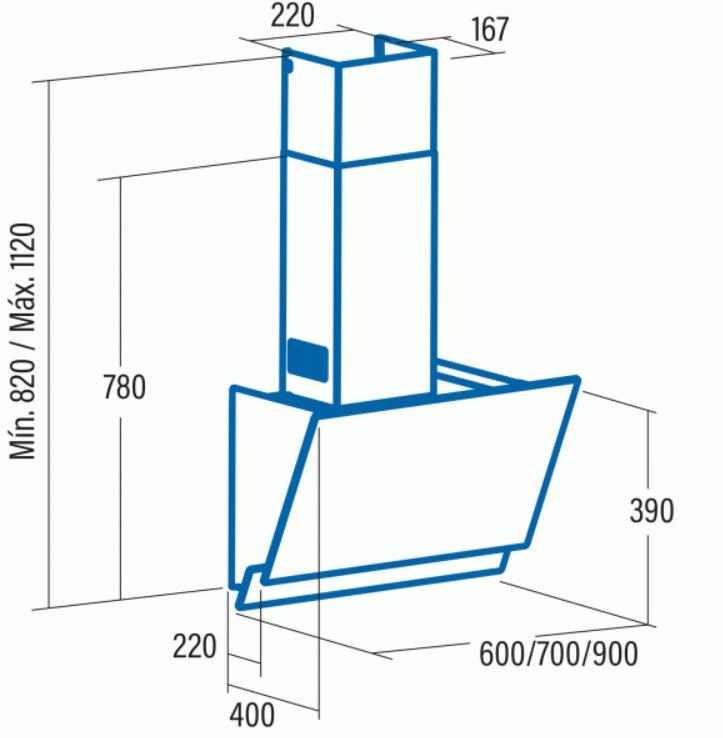 Obrázek galerie pro produkt Cata JUNO A+ 900 černé sklo/nerez + AKCE, Digestoř komínová 90cm, 575m3/hod
