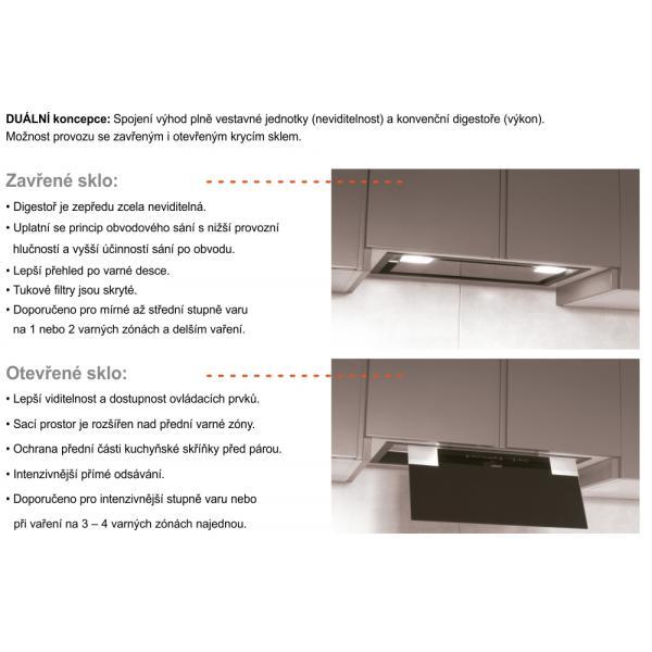 Obrázek galerie pro produkt Cata GC DUAL 75 černá + AKCE%, Vestavná digestoř 90cm, černé sklo, 710m3/hod