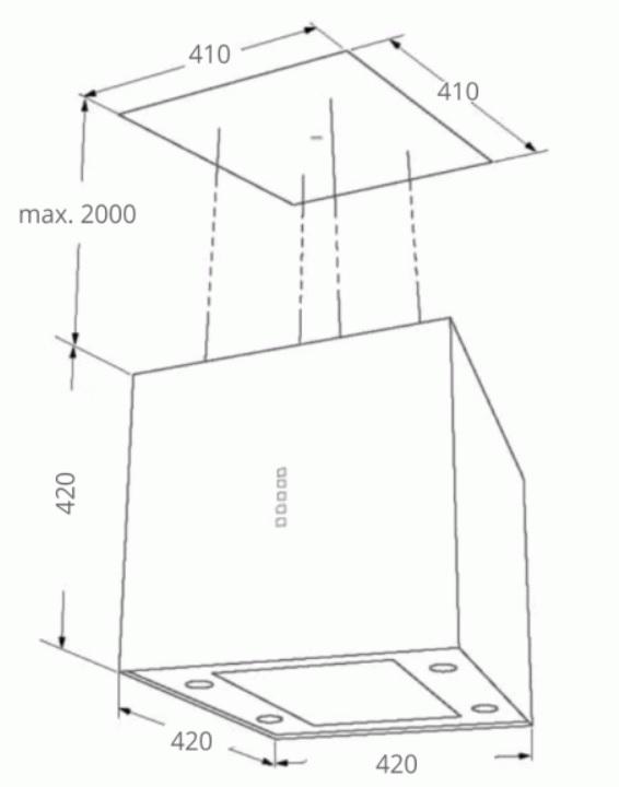 Obrázek galerie pro produkt Cata EMPIRE VIP LD 602040 + Dárek%, Ostrůvková lustrová digestoř 40cm, černá/sklo, 726m3/hod