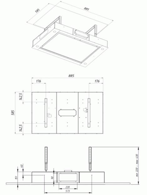 Obrázek galerie pro produkt Cata EMPIRE VIP SD 806090 + Dárek%, Stropní digestoř s externím motorem 90cm, nerez/sklo + Dálkové ovládání