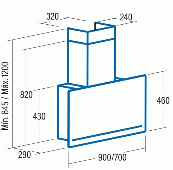 Obrázek galerie pro produkt Cata GOYA A+ 700 černá + AKCE, Komínová digestoř 70cm, nerez/černé sklo