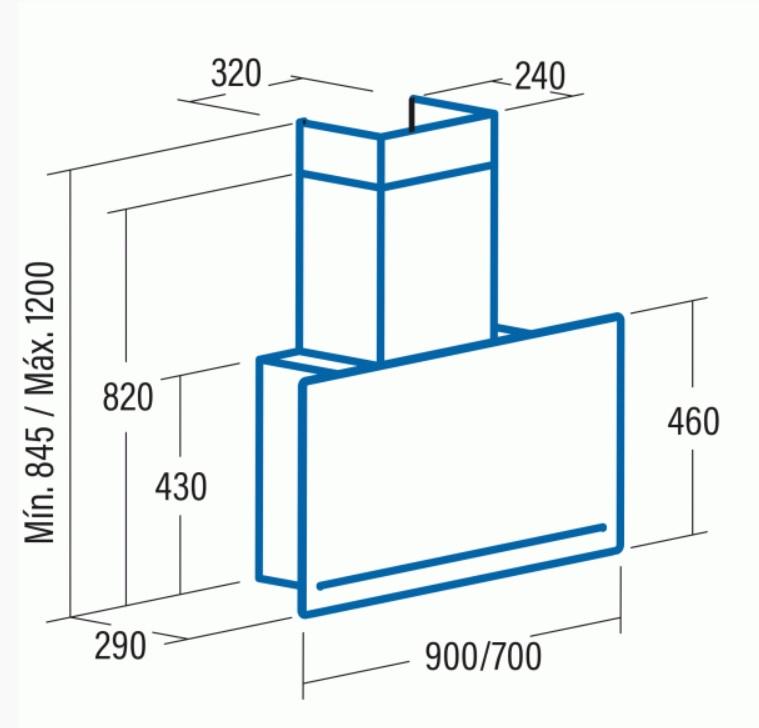 Obrázek galerie pro produkt Cata GOYA A+ 700 bílá + Dárek%, Komínová digestoř 70cm, nerez/bílé sklo, 780m3/hod, 39dB