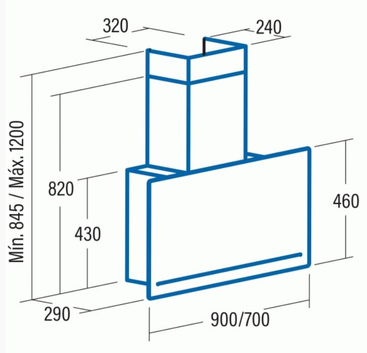 Obrázek galerie pro produkt Cata GOYA A+ 900 bílá + DÁREK, Komínová digestoř 90cm, nerez/bílé sklo, 780m3/hod, 39dB