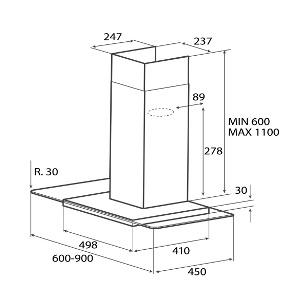 Obrázek galerie pro produkt Elica Flat Glass IX/A/60, Digestoř komínová 60cm, nerez/sklo