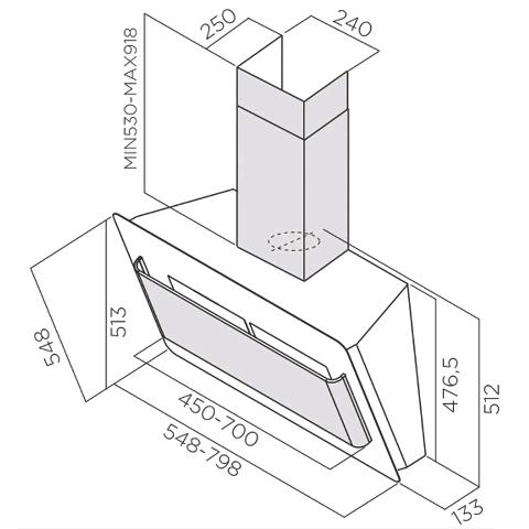 Obrázek galerie pro produkt Elica Belt BL/A/55 LUX + Dárek a Záruka+, Digestoř komínová šikmá, černé sklo/nerez, 55cm