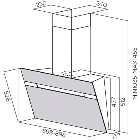 Obrázek galerie pro produkt Elica Stripe Lux BL/A/90 + AKCE, Digestoř komínová šikmá 90cm, černé sklo