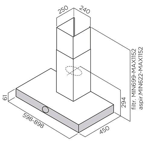 Obrázek galerie pro produkt ELICA LOL BL/A/90 + AKCE, Digestoř komínová 90cm (reliéfní černá)+ Záruka 5 LET