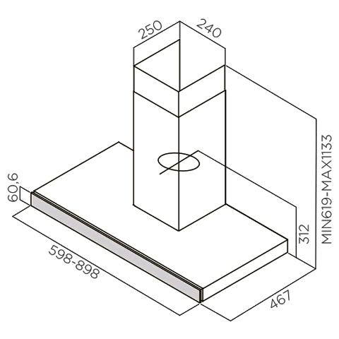 Obrázek galerie pro produkt Elica Joy BLIX/A/60 + Dárek% a záruka 5 let, Digestoř komínová 60cm, nerez/černé sklo