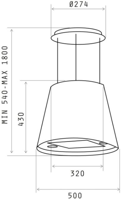 Obrázek galerie pro produkt Elica Juno IX/F 50 + Dárek% a Záruka 5 let, Designová digestoř ostrůvková, nerez, 50cm