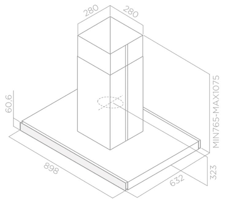 Obrázek galerie pro produkt Elica Joy Island BLIX/A/90 + AKCE Záruka 5let, Digestoř ostrůvková 90cm, nerez/černé sklo
