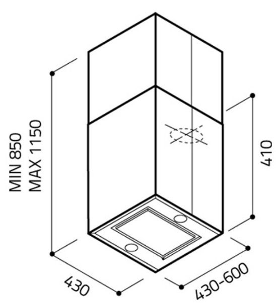 Obrázek galerie pro produkt Elica KUADRA ISLAND IX/A/43 + Záruka 5let, Digestoř ostrůvková tubus nerez 43cm